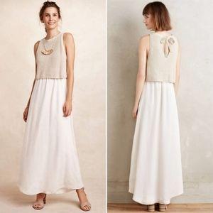 Anthro Moth Sandstone Layered Knit Maxi Dress